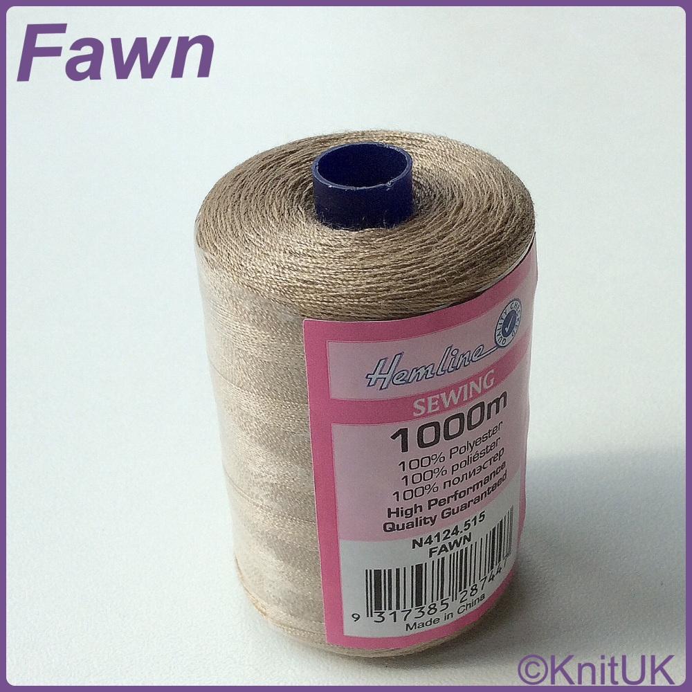 Hemline Sewing Thread 100% Polyester - 1000m. Fawn