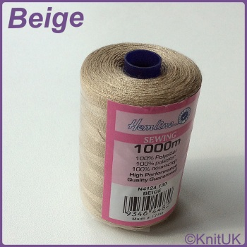 Hemline Sewing Thread 100% Polyester - 1000m. Beige