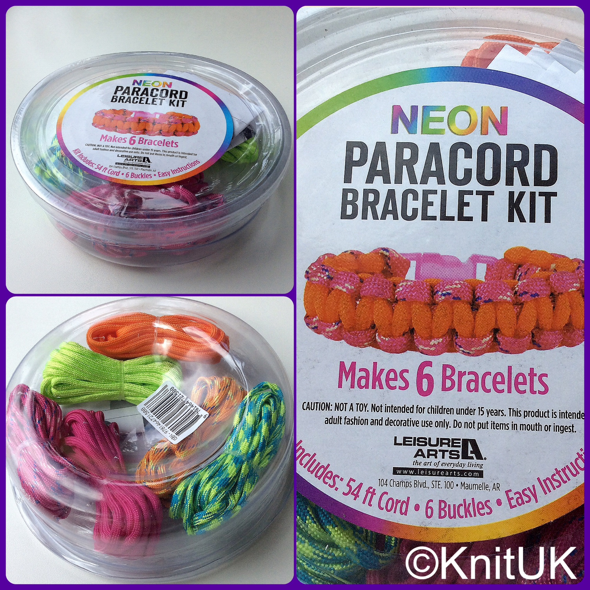 Leisure arts paracord bracelet kit neon pink