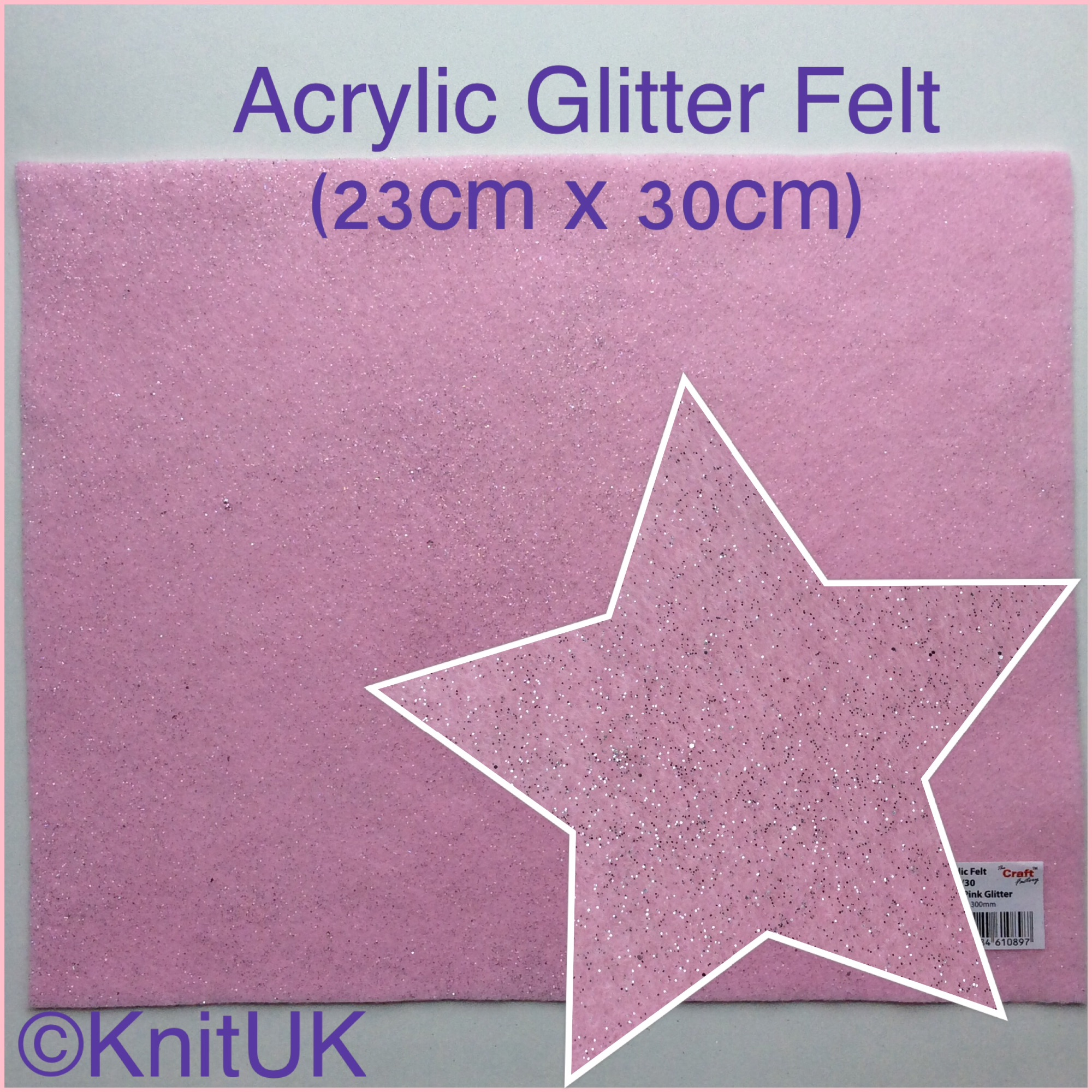 The Craft factory acrylic glitter felt baby pink and zoom