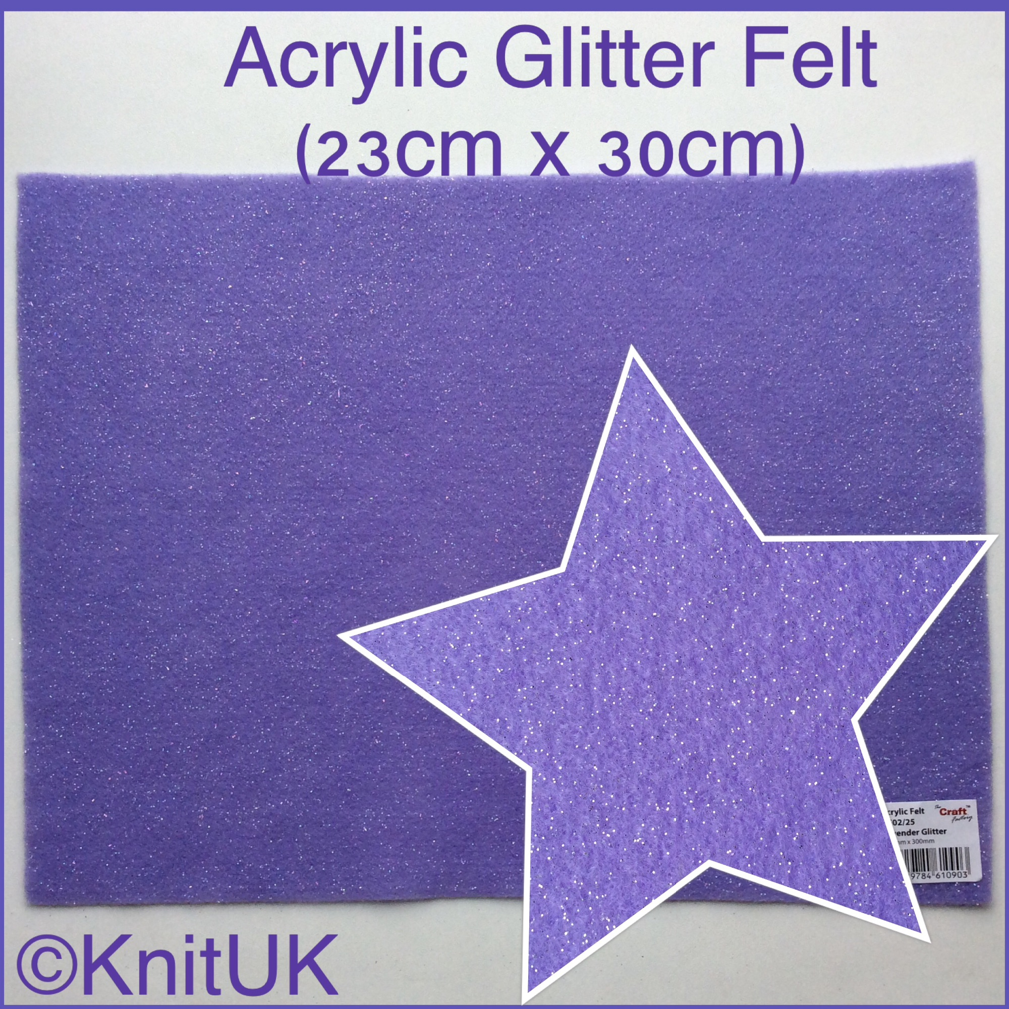 The Craft factory acrylic glitter felt lavender and zoom