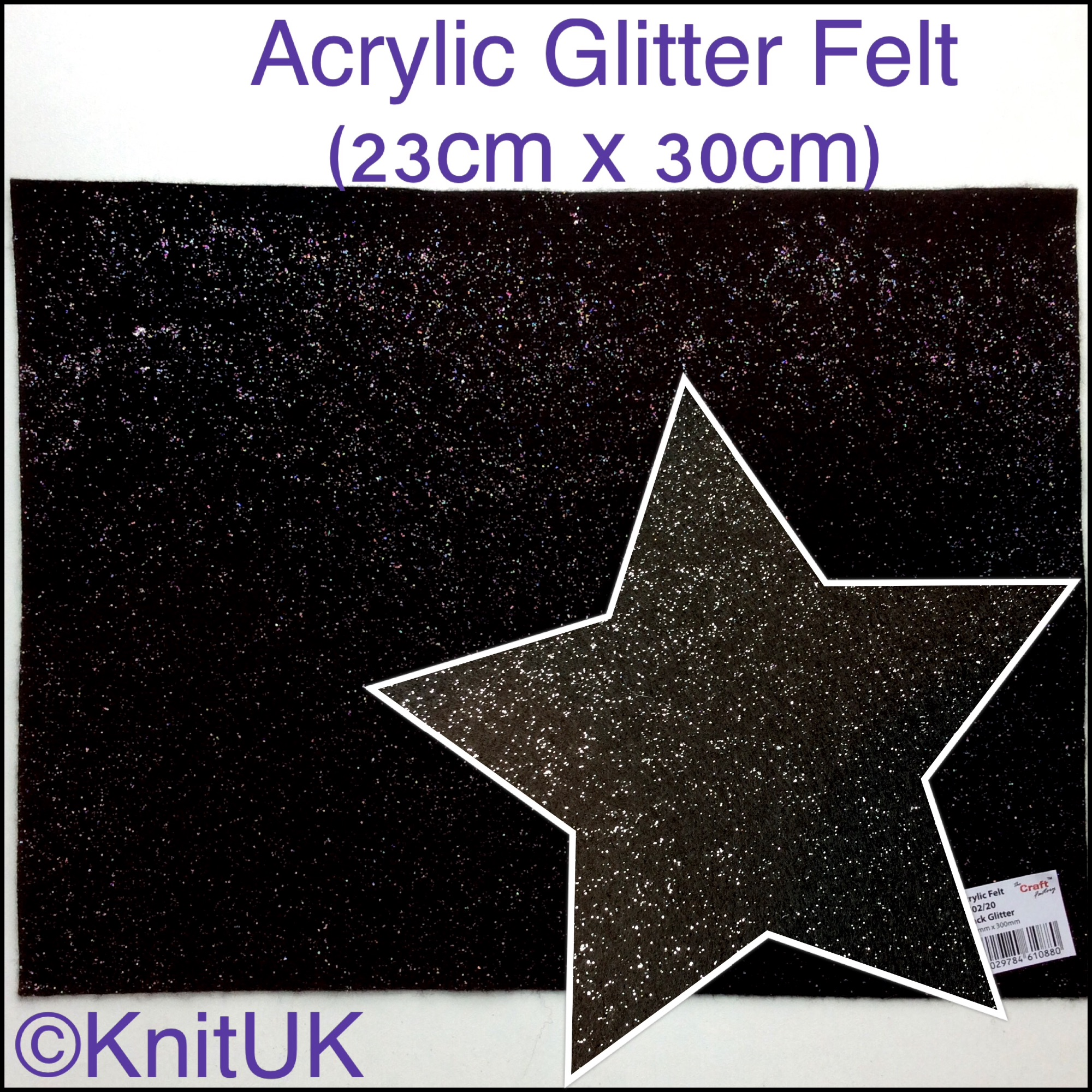 The Craft factory acrylic glitter felt black and zoom