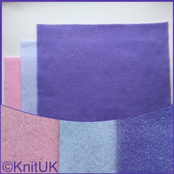 Acrylic Glitter Felt 23cm x 30cm. Unicorn Colours (The Craft Factory). 3 pieces