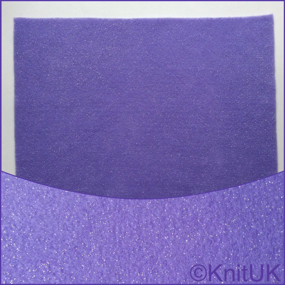 Acrylic Glitter Felt 23cm x 30cm. Lavender (The Craft Factory).