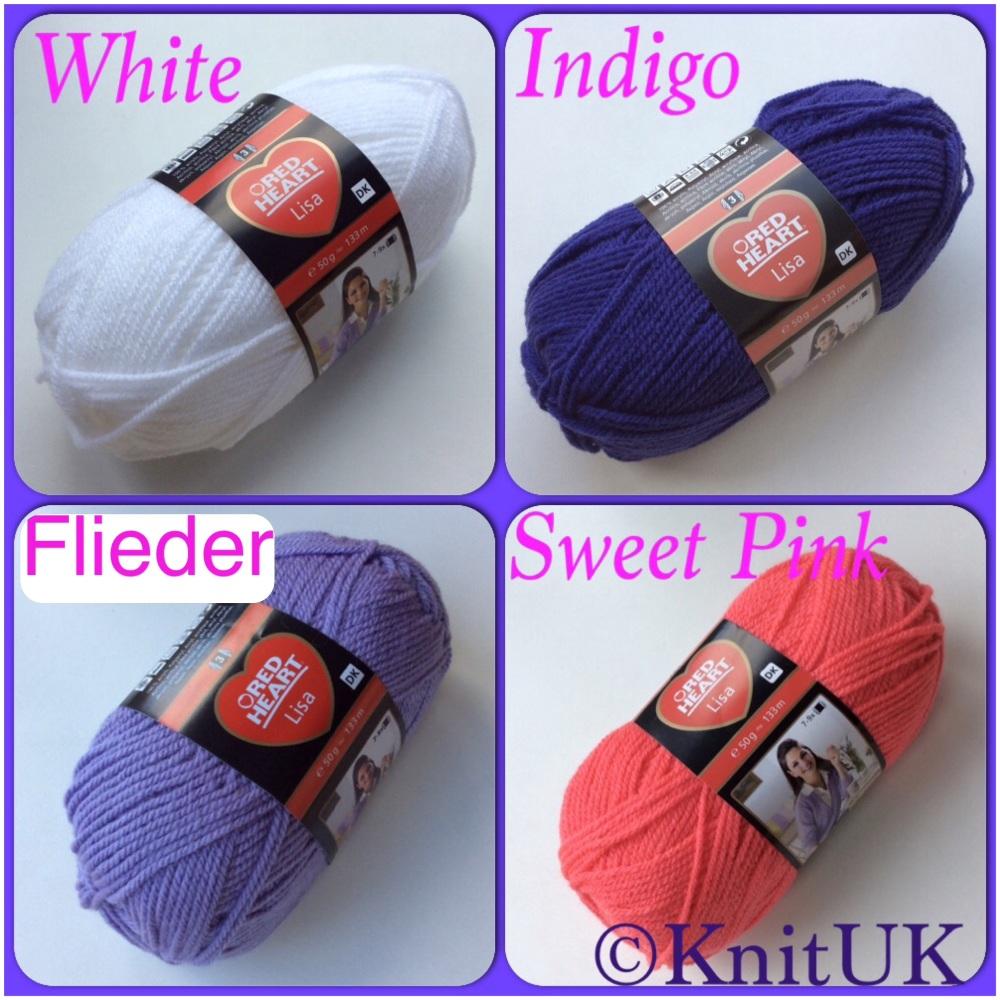 Red heart lisa white flieder indigo sweet pink