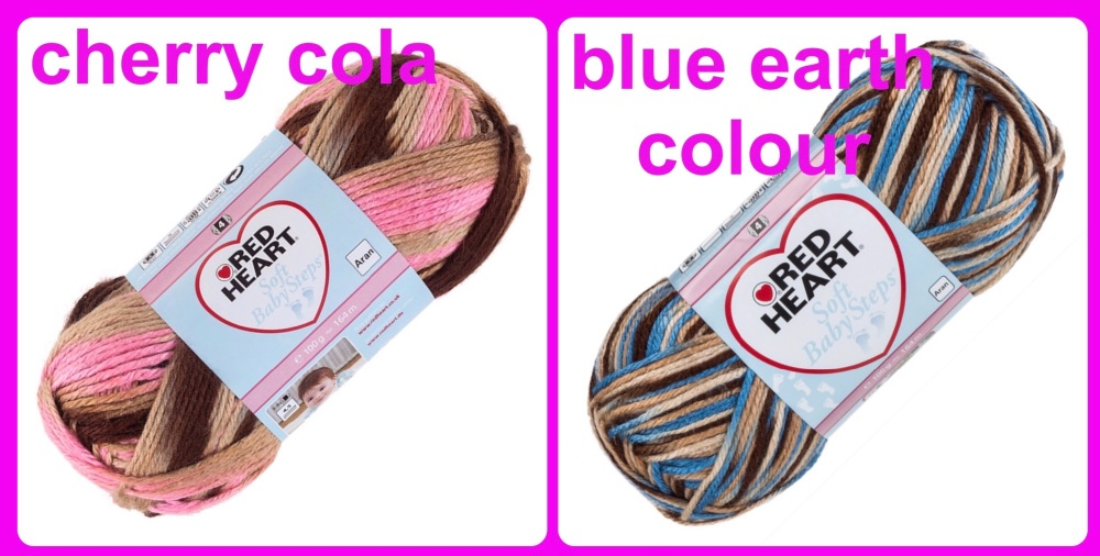 Red heart soft baby steps yarn cherry cola blue earth colour