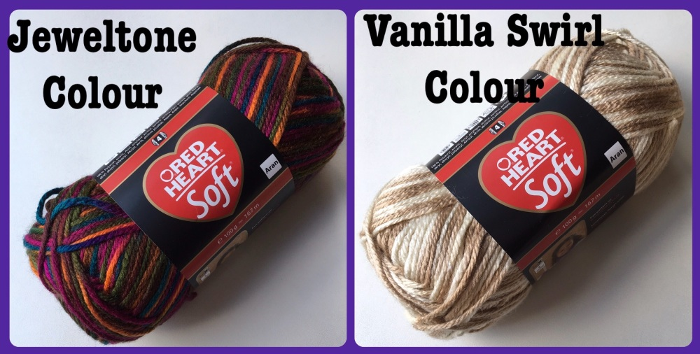 Red Heart Soft Colour yarn jeweltone vanilla swirl color