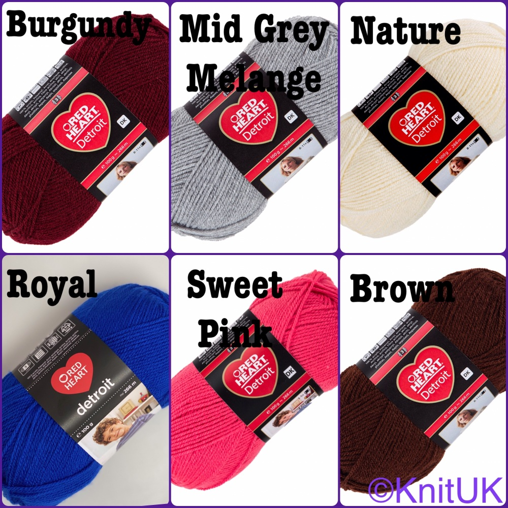 Red heart detroit yarn colours burgundy mid grey melang nature indigo sweet