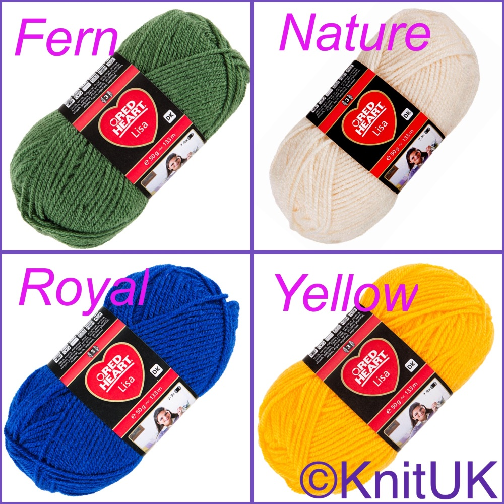 Red heart lisa dk yarn colours fern nature royal yellow