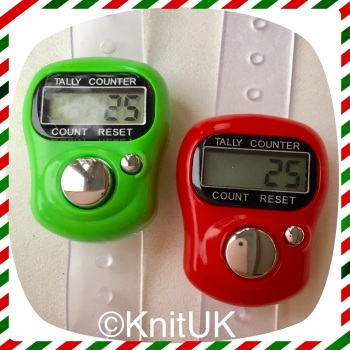 KnitUK Tally Counter Pack of 2 LCD Finger-Held Digital Row Counters. Green & Red.
