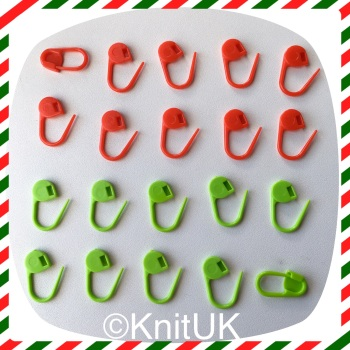 KnitUK Locking Stitch Markers (Red & Green). 20 pack