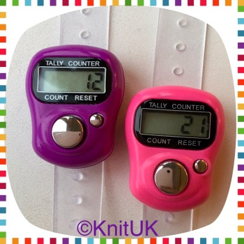 KnitUK Tally Counter Pack of 2 LCD Finger-Held Digital Row Counters. Pink & Purple.
