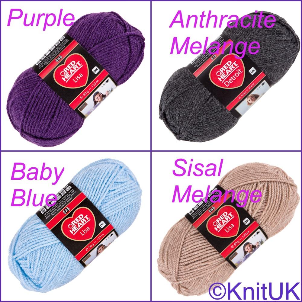Red heart lisa dk yarn colour purple sisal melange Anthracite baby blue