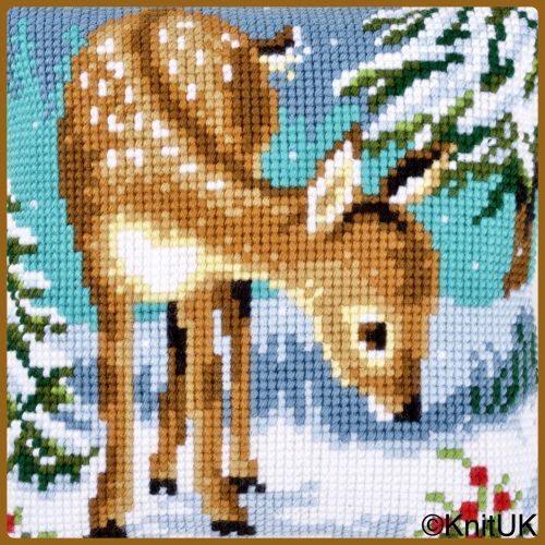 Cross Stitch Cushion: Little Deer (Vervaco). Tapestry