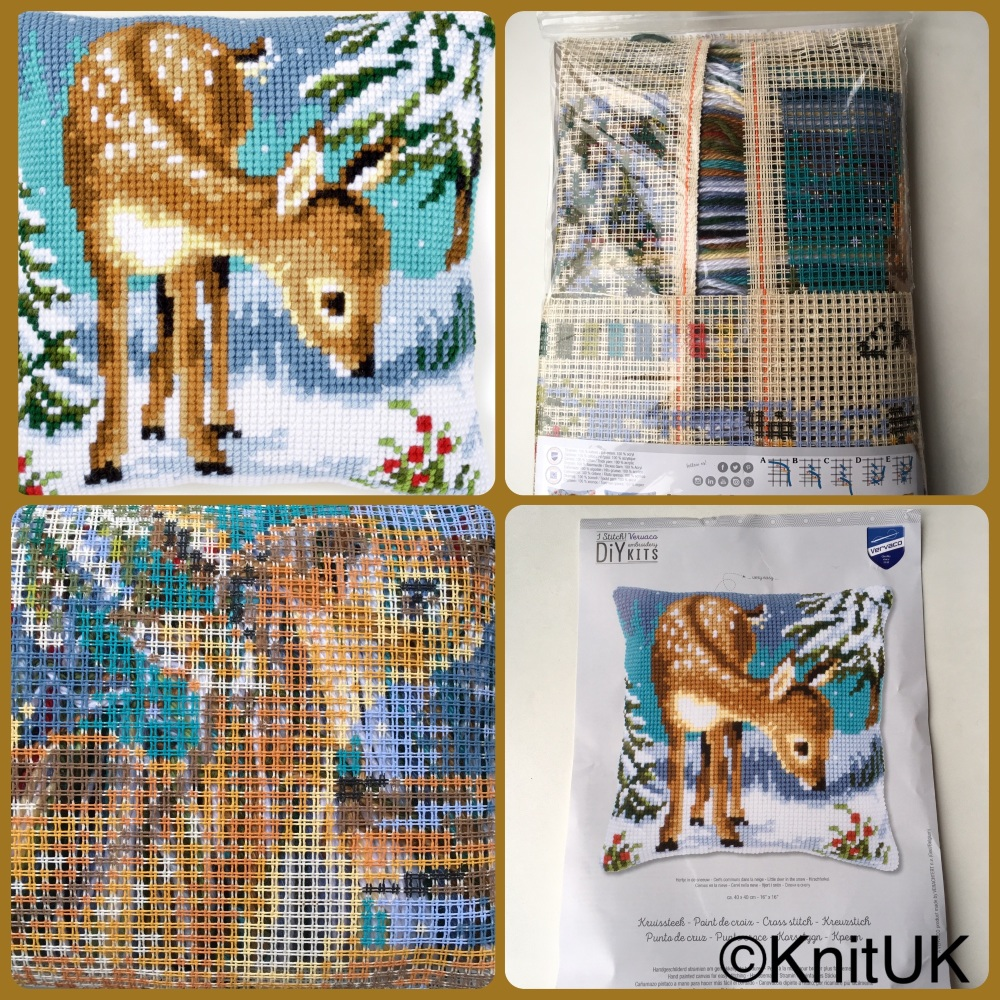 Vervaco cushion little deer tapestry cross stitch 4 pics