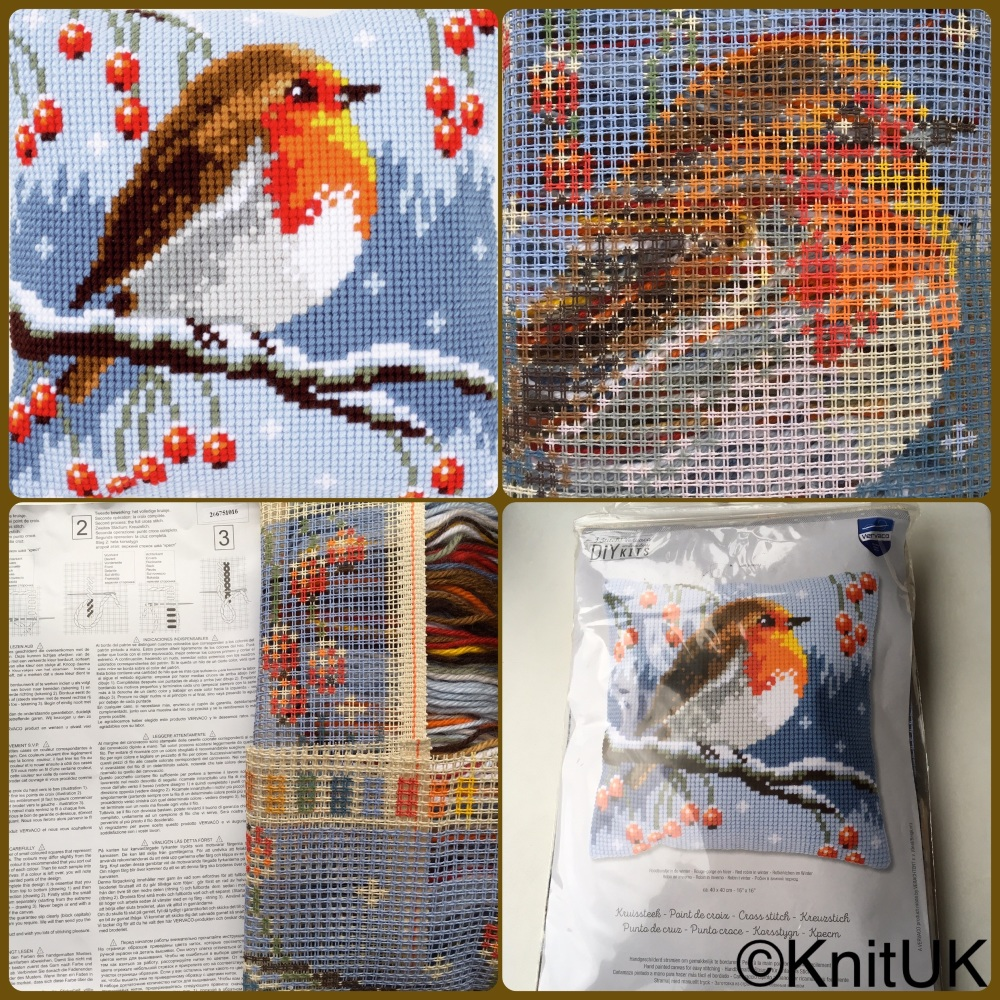 Vervaco robin in winter cross stitch cushion kit tapestry