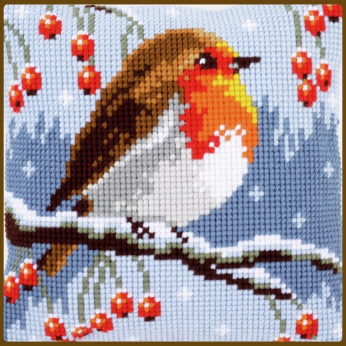 Cross Stitch Cushion: Red robin in winter (Vervaco). Tapestry