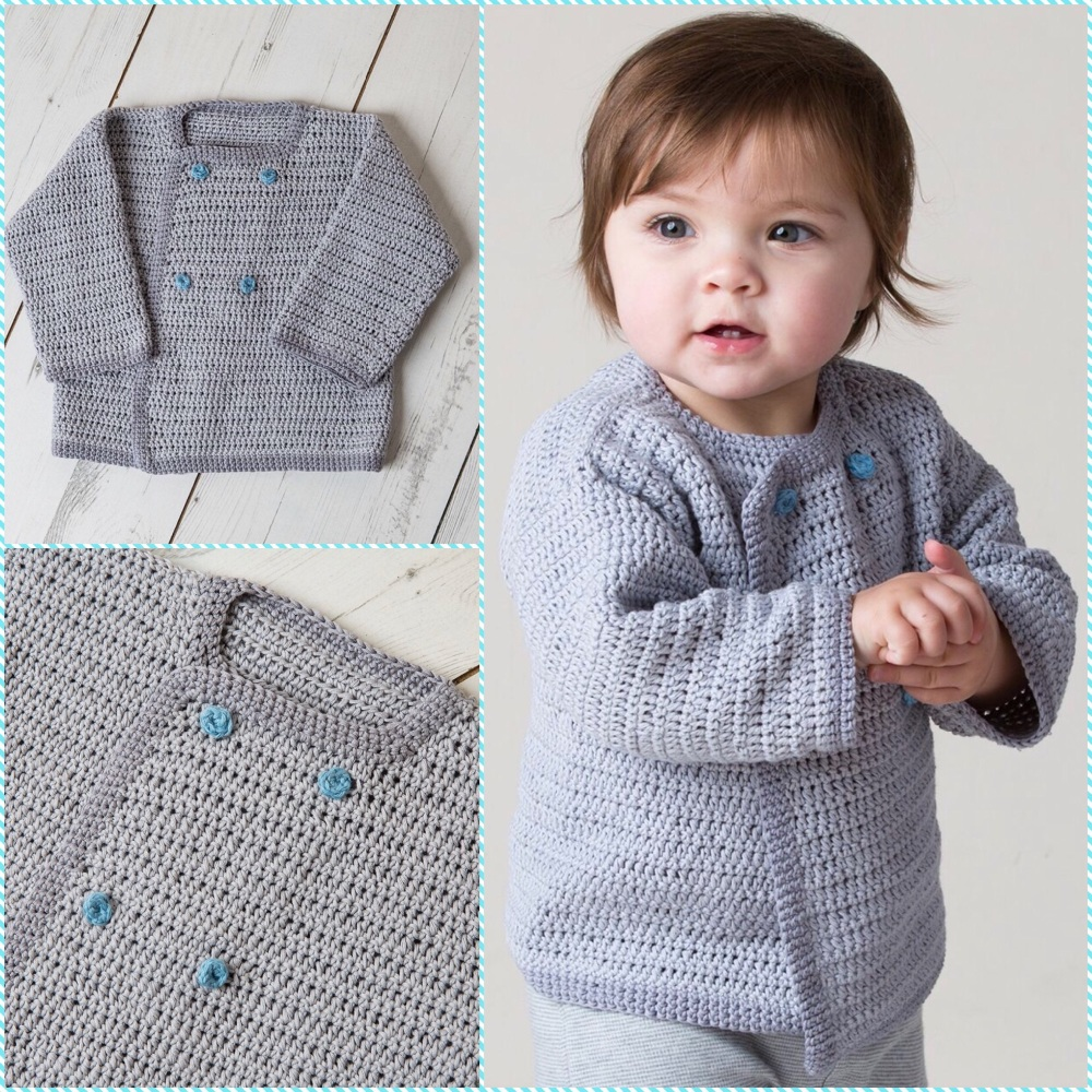 DMC natura just cotton crochet pattern baby cardigan tiny tatty teddy me to