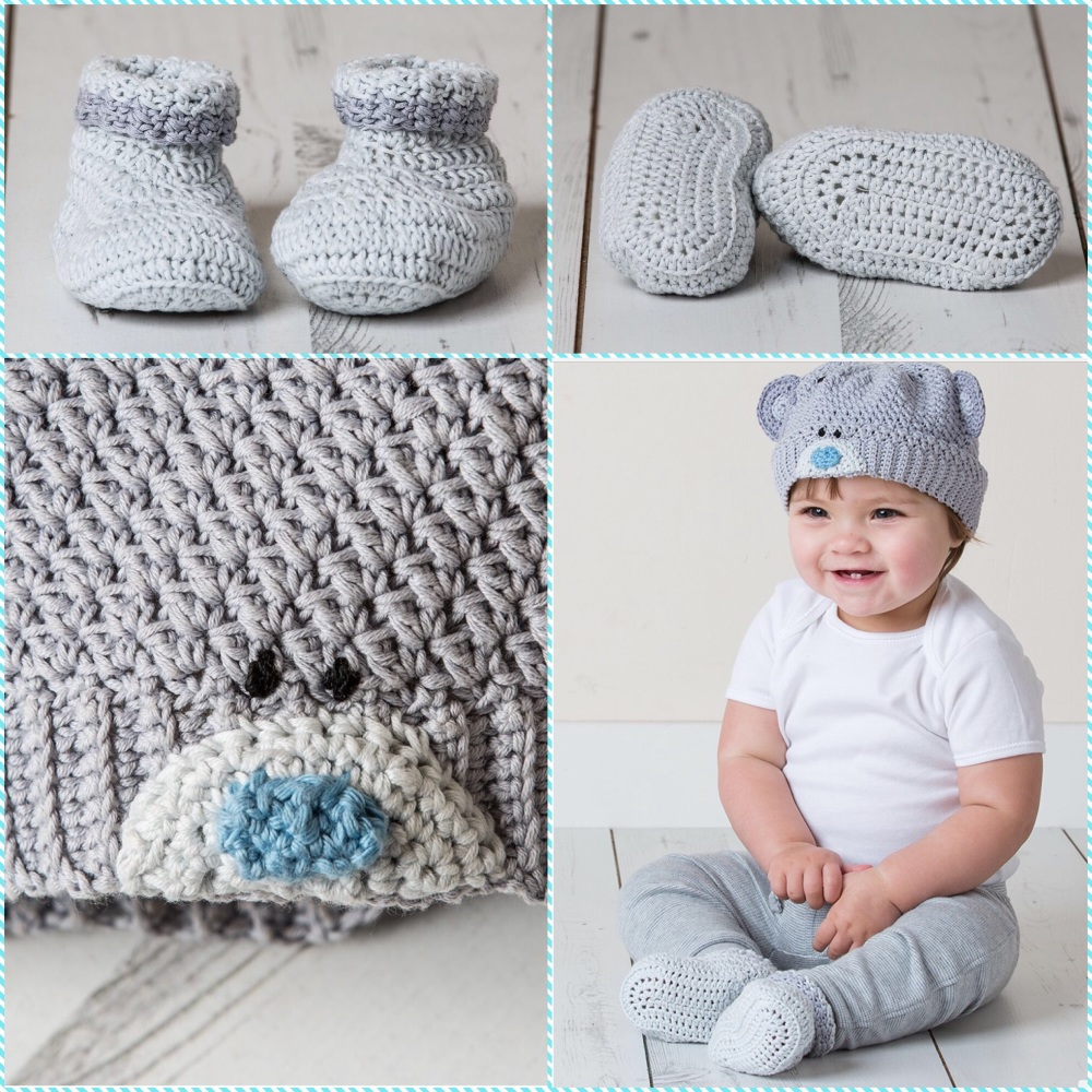 Dmc Crochet Pattern Baby Beanie Hat And Booties Tiny Tatty Teddy