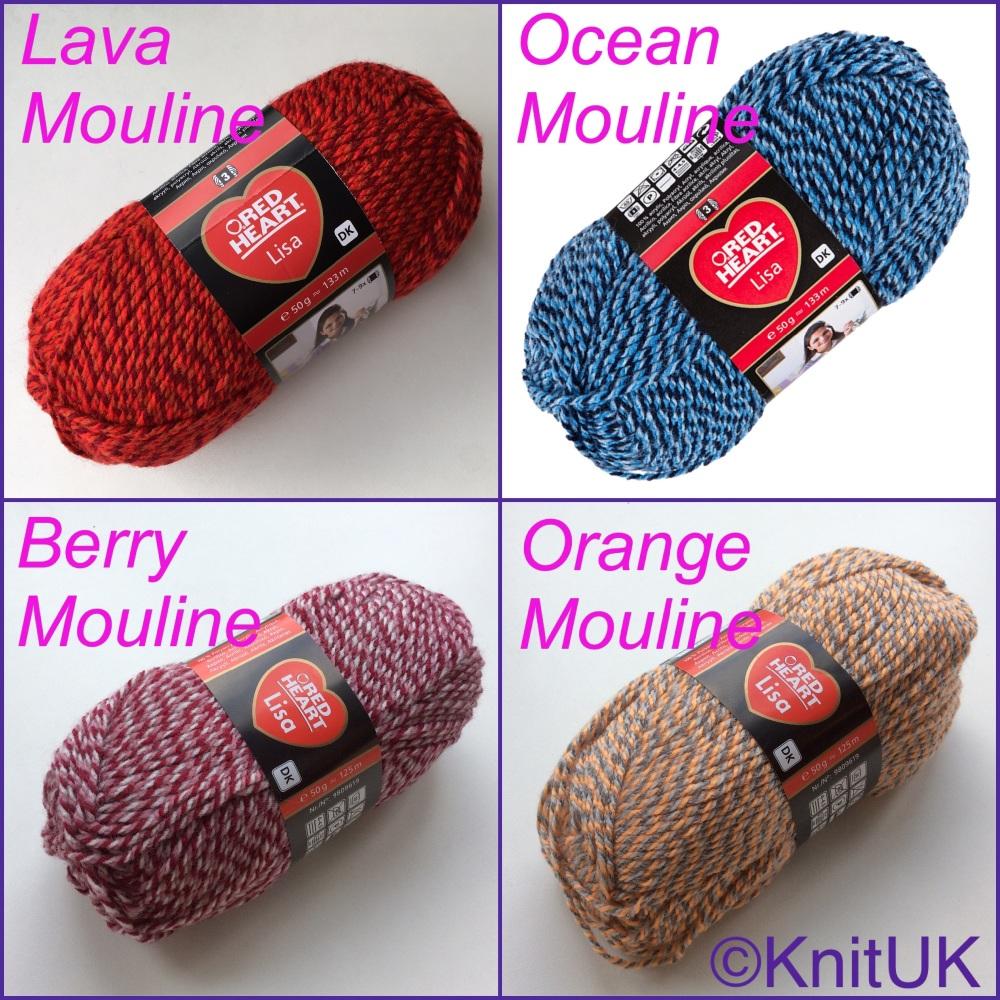 Red Heart Lisa DK yarn lava berry ocean orange Mouline colour