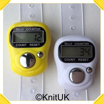KnitUK Tally Counter Pack of 2 LCD Finger-Held Digital Row Counters. White & Yellow.