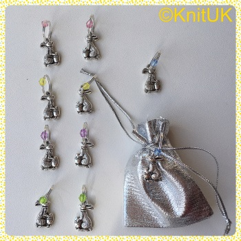 "KnitUK Ring Stitch Markers Set of 10 ""Easter Bunny & Egg"" - Tibetan Silver"