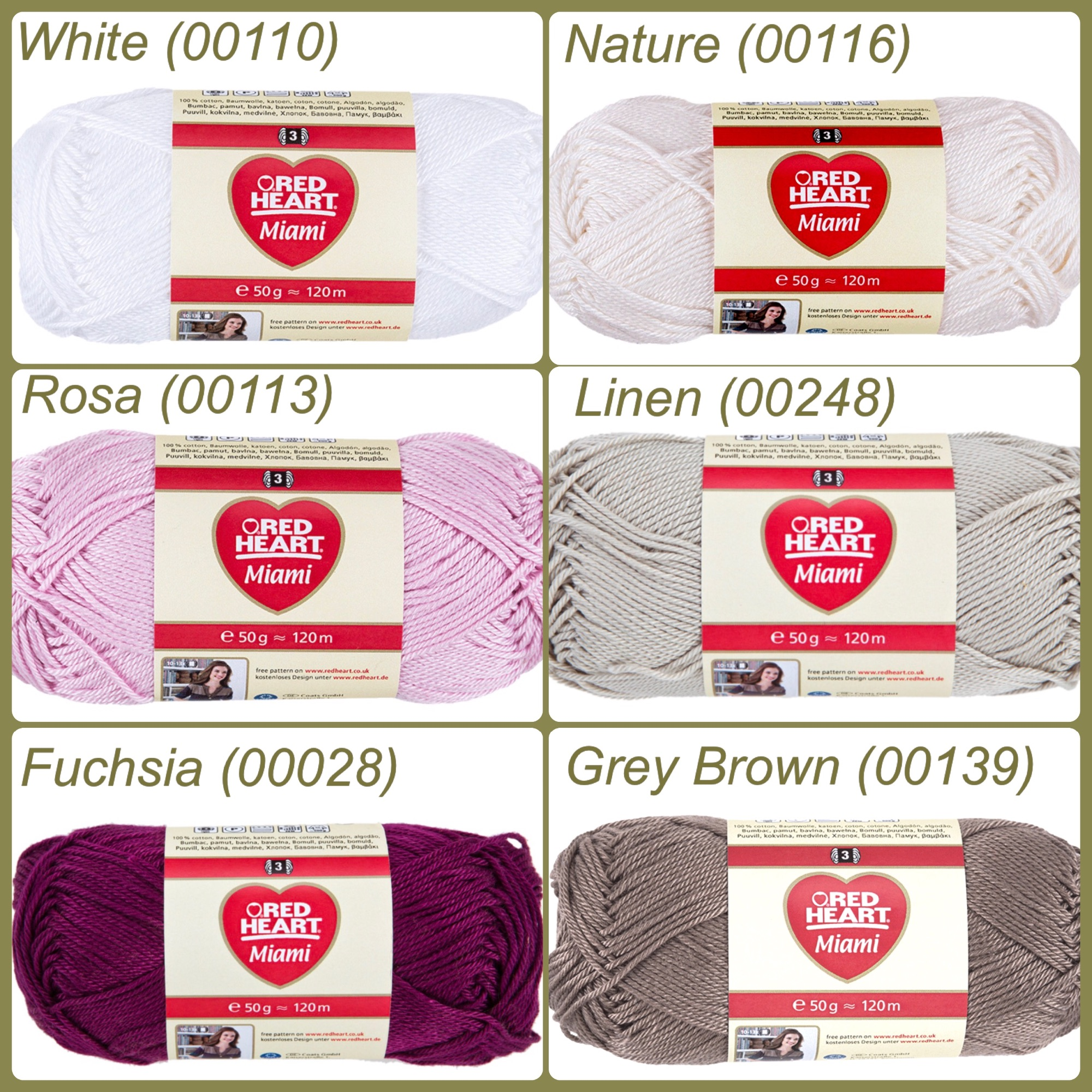 Red heart miami yarn colour white nature rosa linen fuchsia grey brown