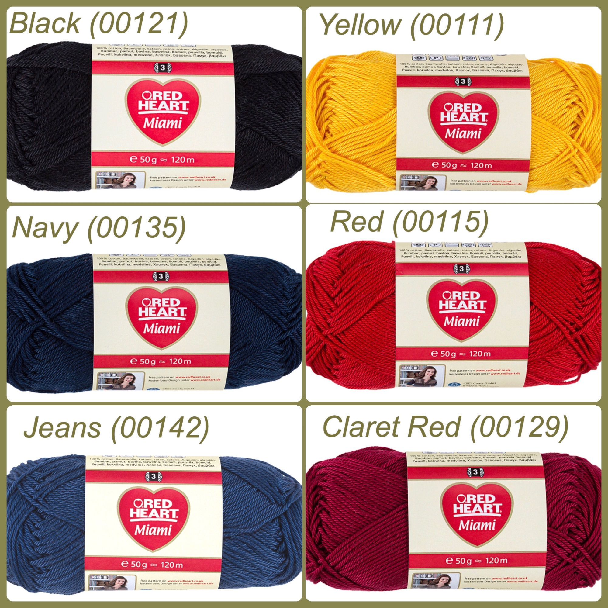 Red heart miami yarn colour black navy jeans yellow red claret