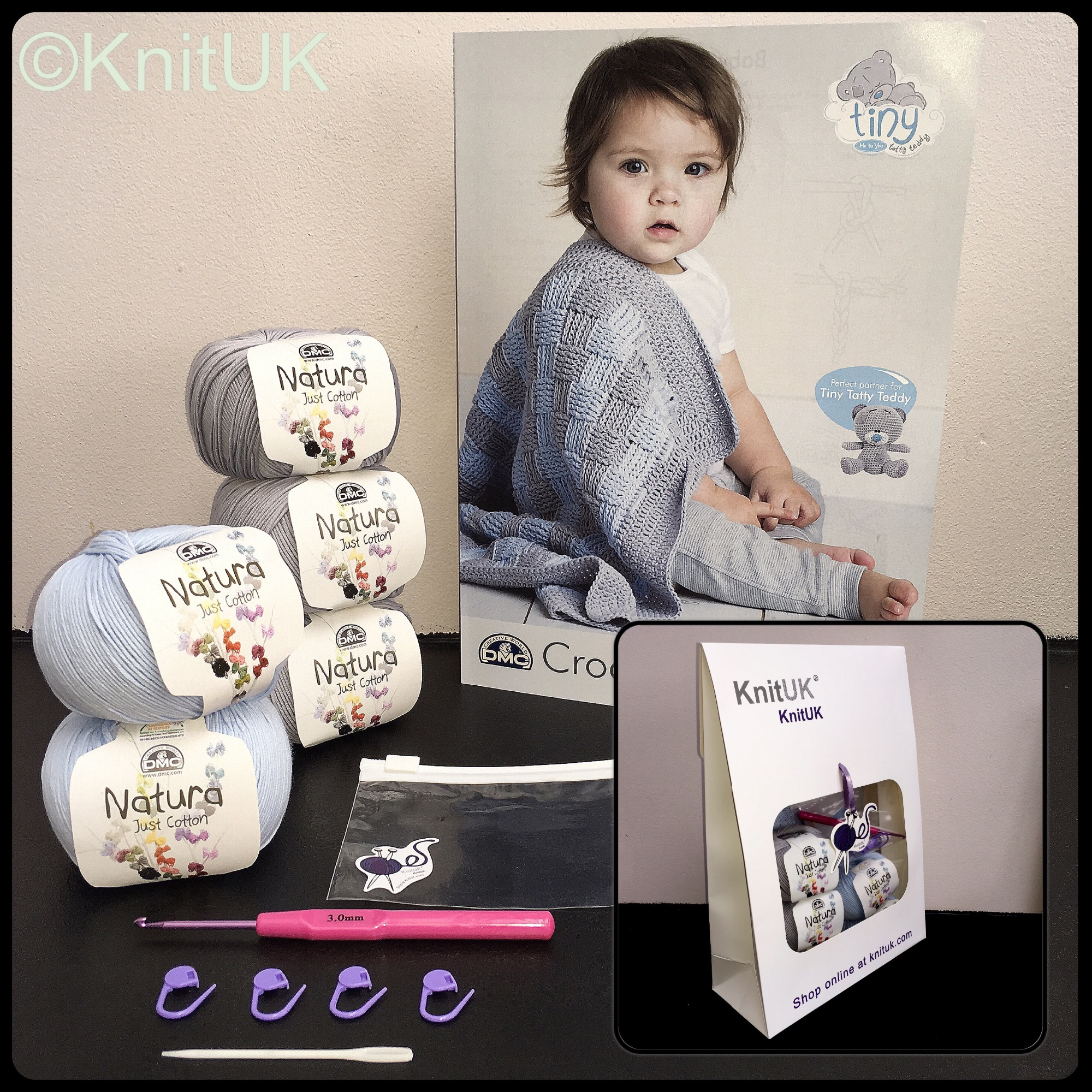 Dmc baby blanket kit contents and small knituk box with natura just cotton
