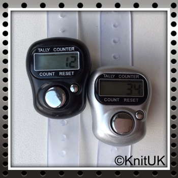 KnitUK Tally Counter Pack of 2 LCD Finger-Held Digital Row Counters. Black & Silver.