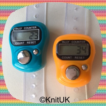 KnitUK Tally Counter Pack of 2 LCD Finger-Held Digital Row Counters. Orange & Turquoise.