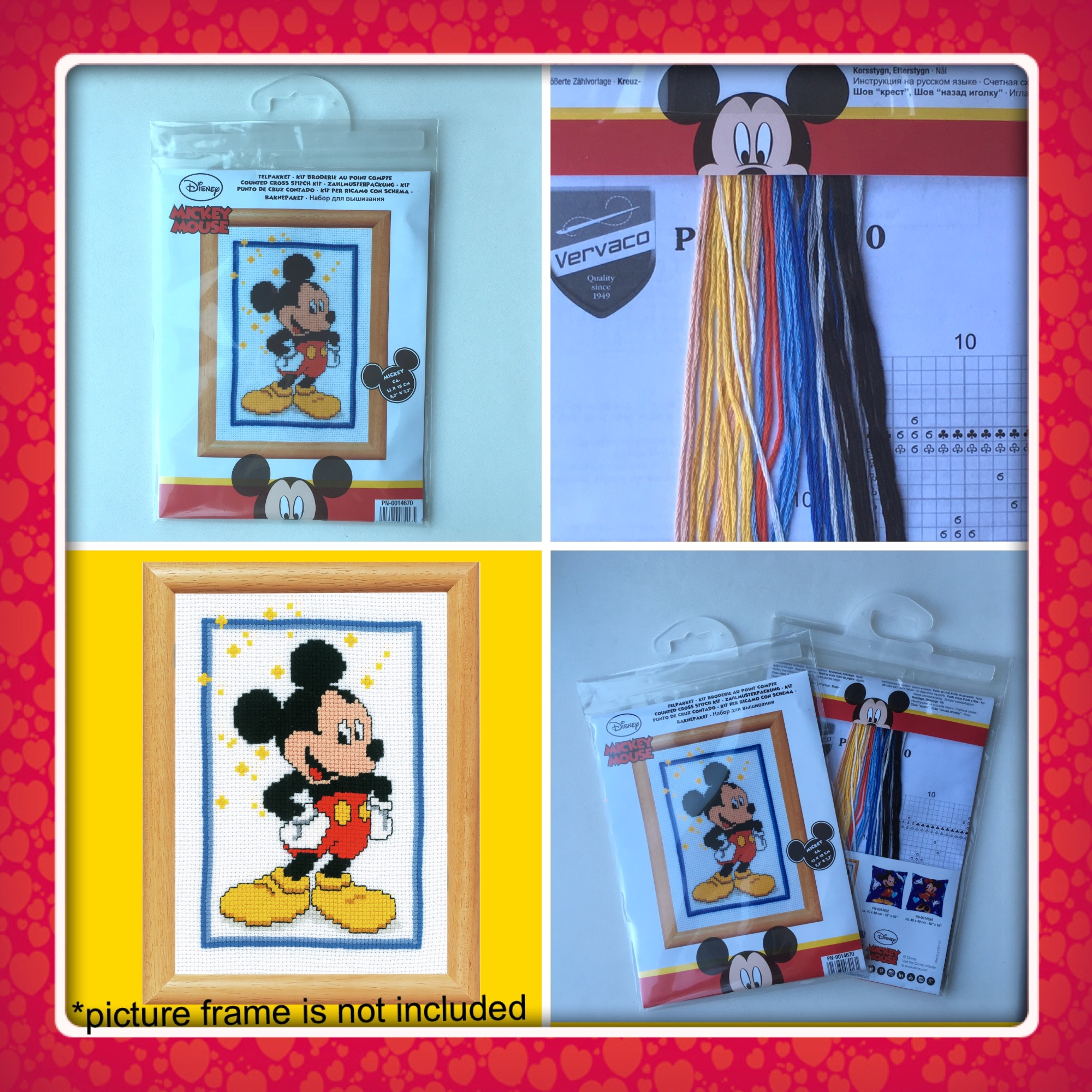 Vervaco mickey mouse cross stitch kit 4 pics