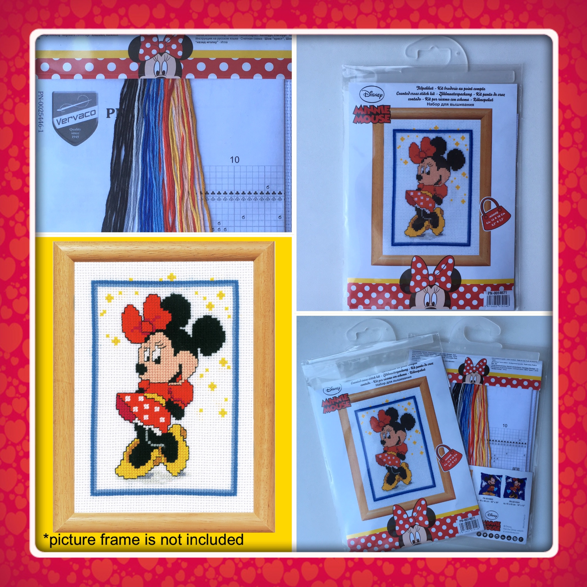Vervaco minnie mouse cross stitch kit 4 pics