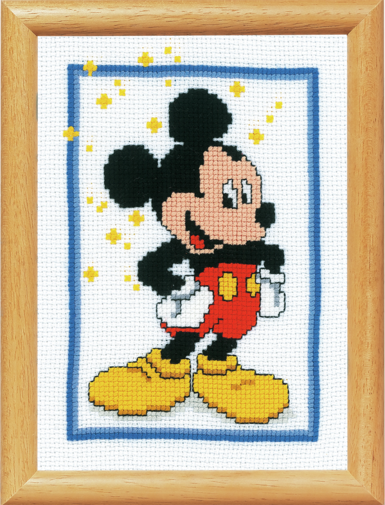 Cross Stitch Kit for picture frame: Mickey Mouse (Vervaco).