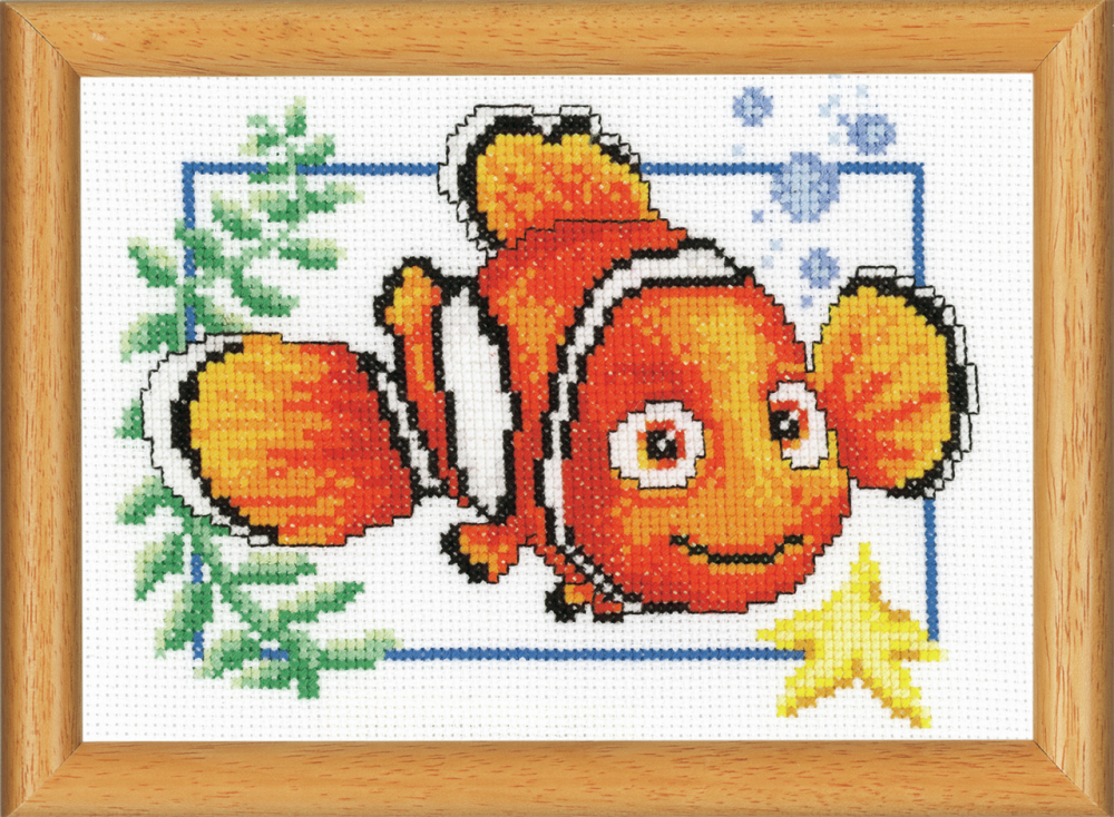 Cross Stitch Kit for picture frame: Nemo (Vervaco).