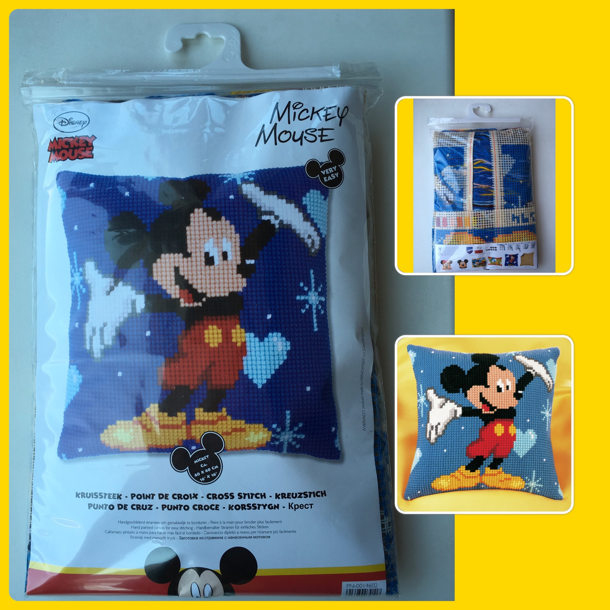 Vervaco cross stitch tapestry mickey cushion cover 3 pics