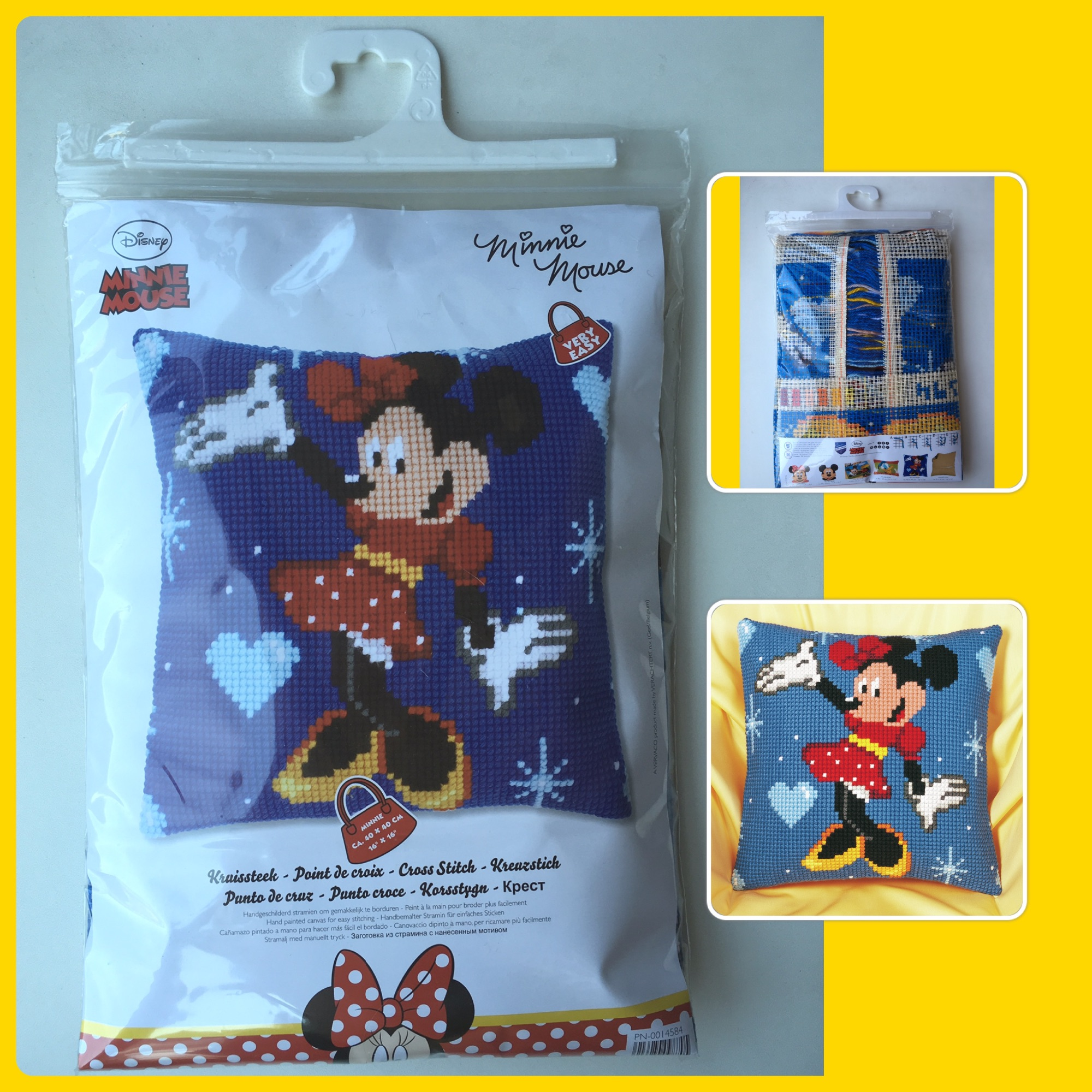 Vervaco cross stitch tapestry minnie cushion cover 3 pics