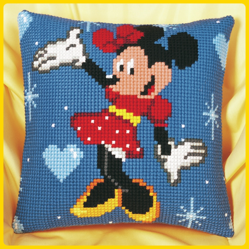 Cross Stitch Cushion cover: Minnie Mouse (Vervaco). Cross Stitch / Tapestry