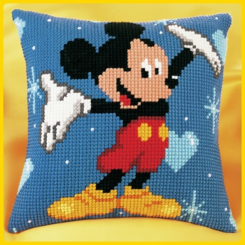 Cross Stitch Cushion cover: Mickey Mouse (Vervaco). Cross Stitch / Tapestry