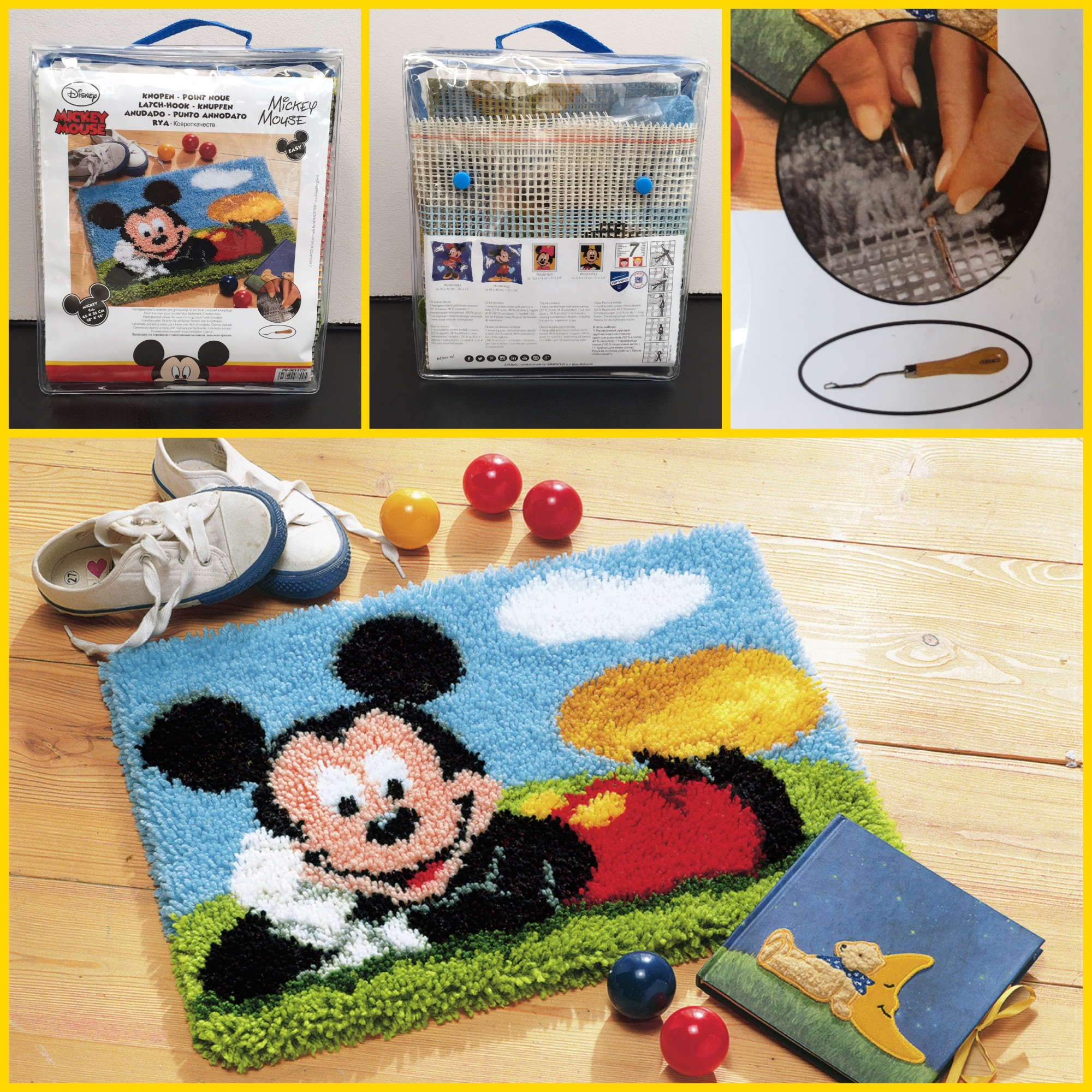 Vervaco latch-hook rug kit mickey mouse 3 pics