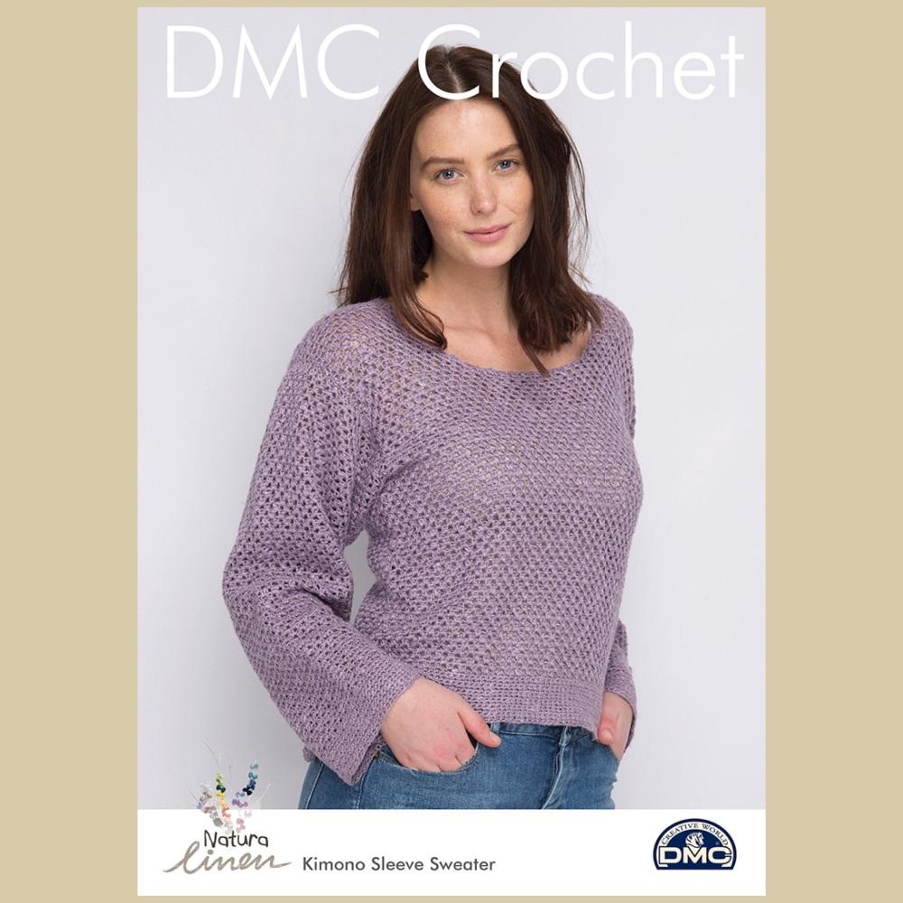 DMC Natura Linen crochet pattern Kimono Sleeve Sweater | KnitUK