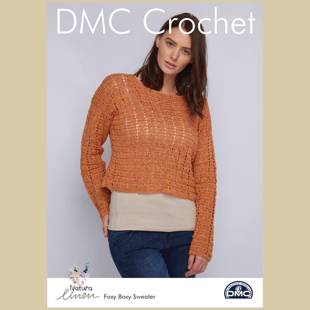 Dmc natura linen Foxy boxy sweater crochet pattern