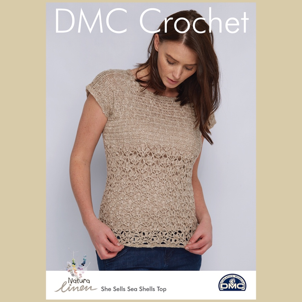 Dmc natura linen She sells sea shells top crochet pattern