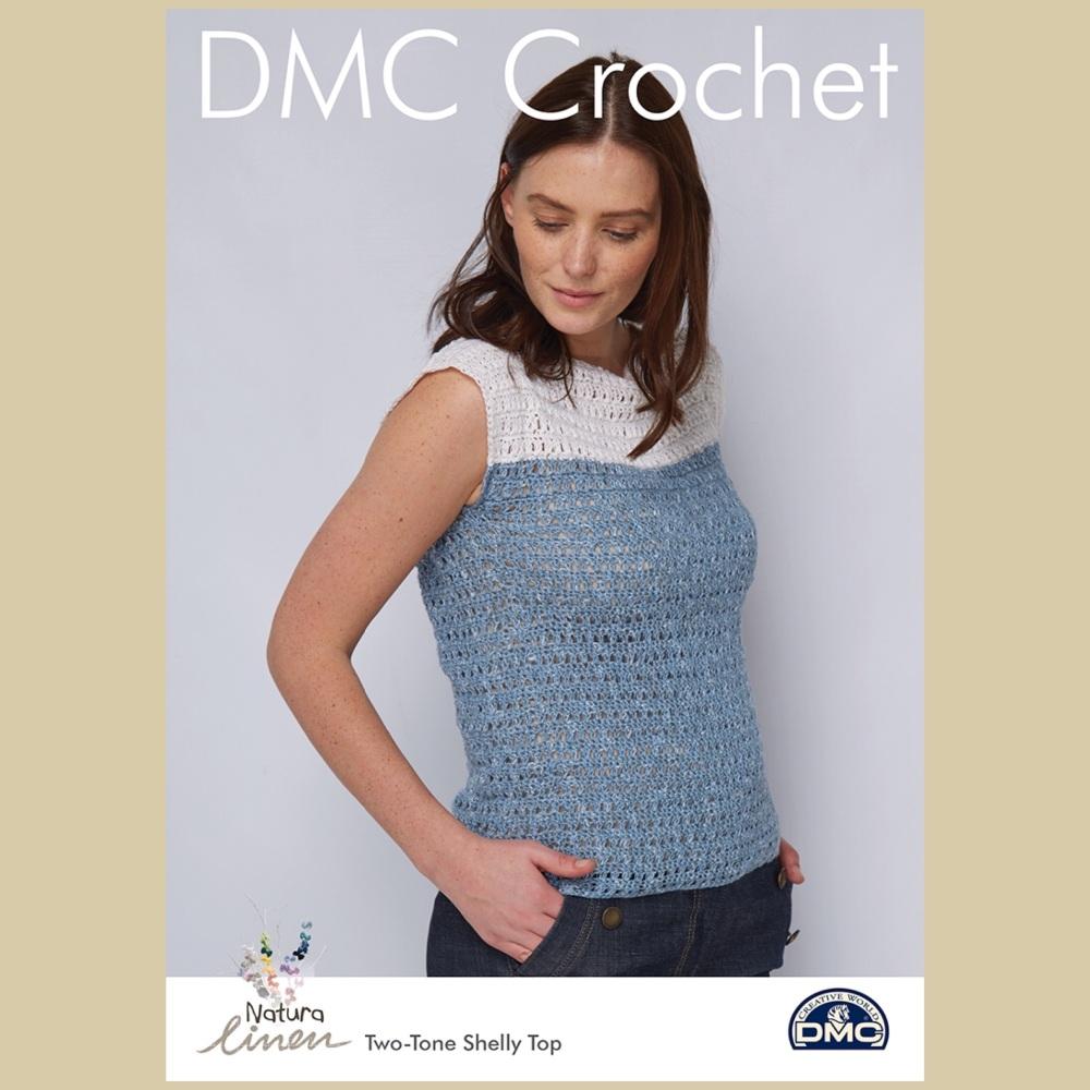 Dmc natura linen two-tone shelly top crochet pattern