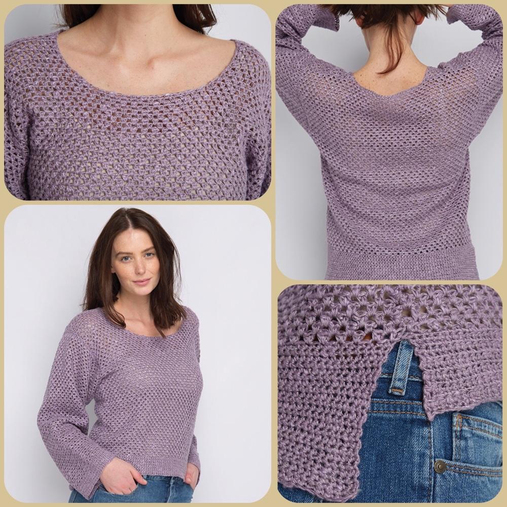 Dmc natura linen kimono sleeve sweater crochet pattern 4 pictures