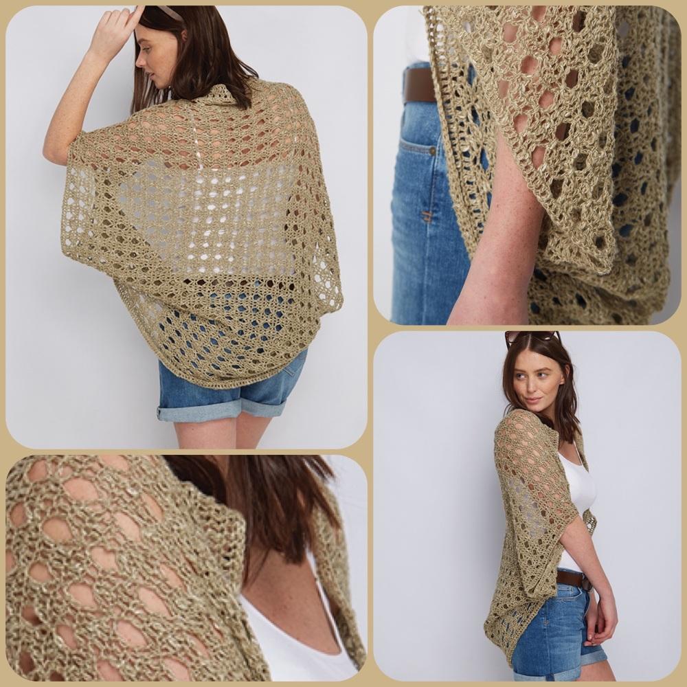 Dmc natura linen sea breeze shrug crochet pattern 4 pictures
