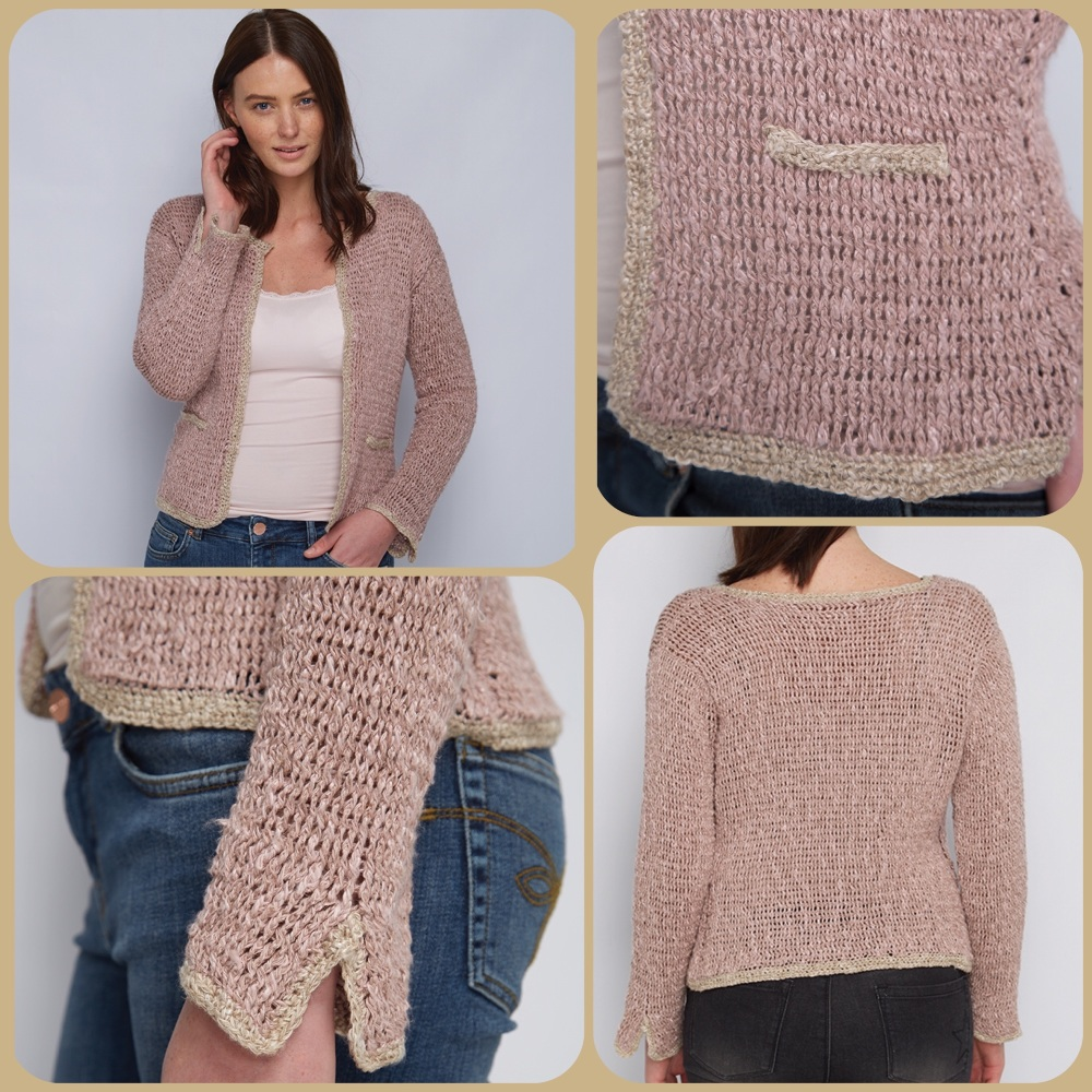 Dmc natura linen Channelling the jacket crochet pattern 4 pictures