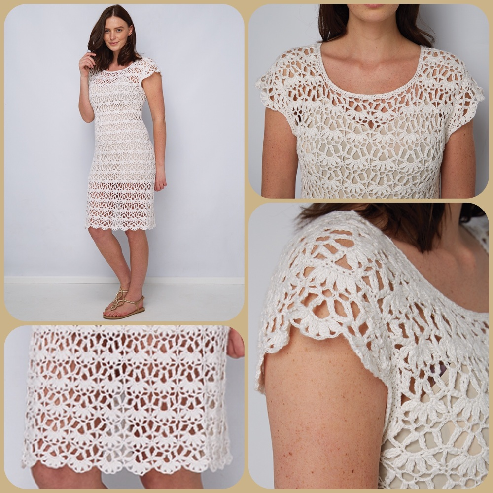 Dmc natura linen Lacey lucy dress crochet pattern 4 pictures