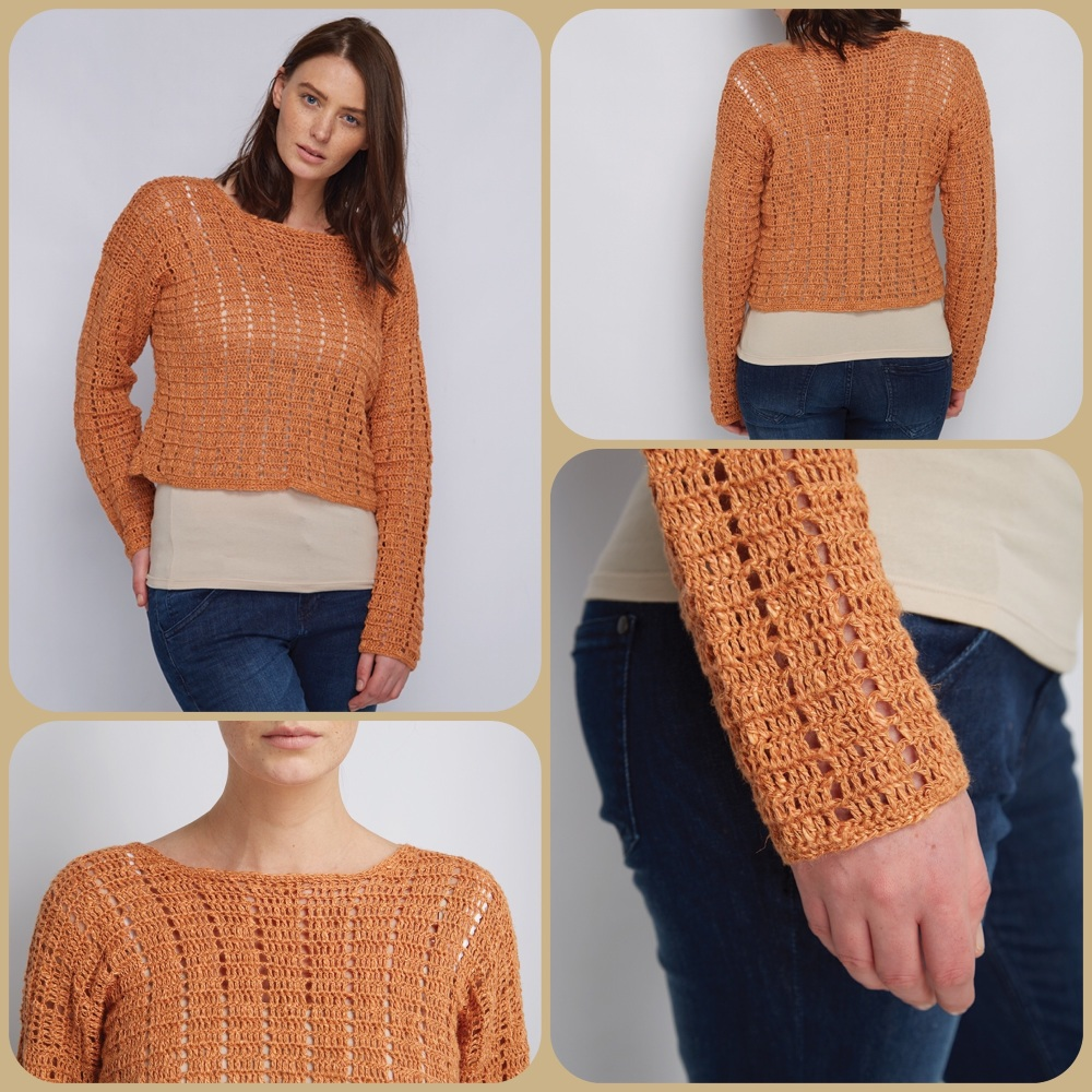 Dmc natura linen Foxy boxy sweater crochet pattern 4 pictures