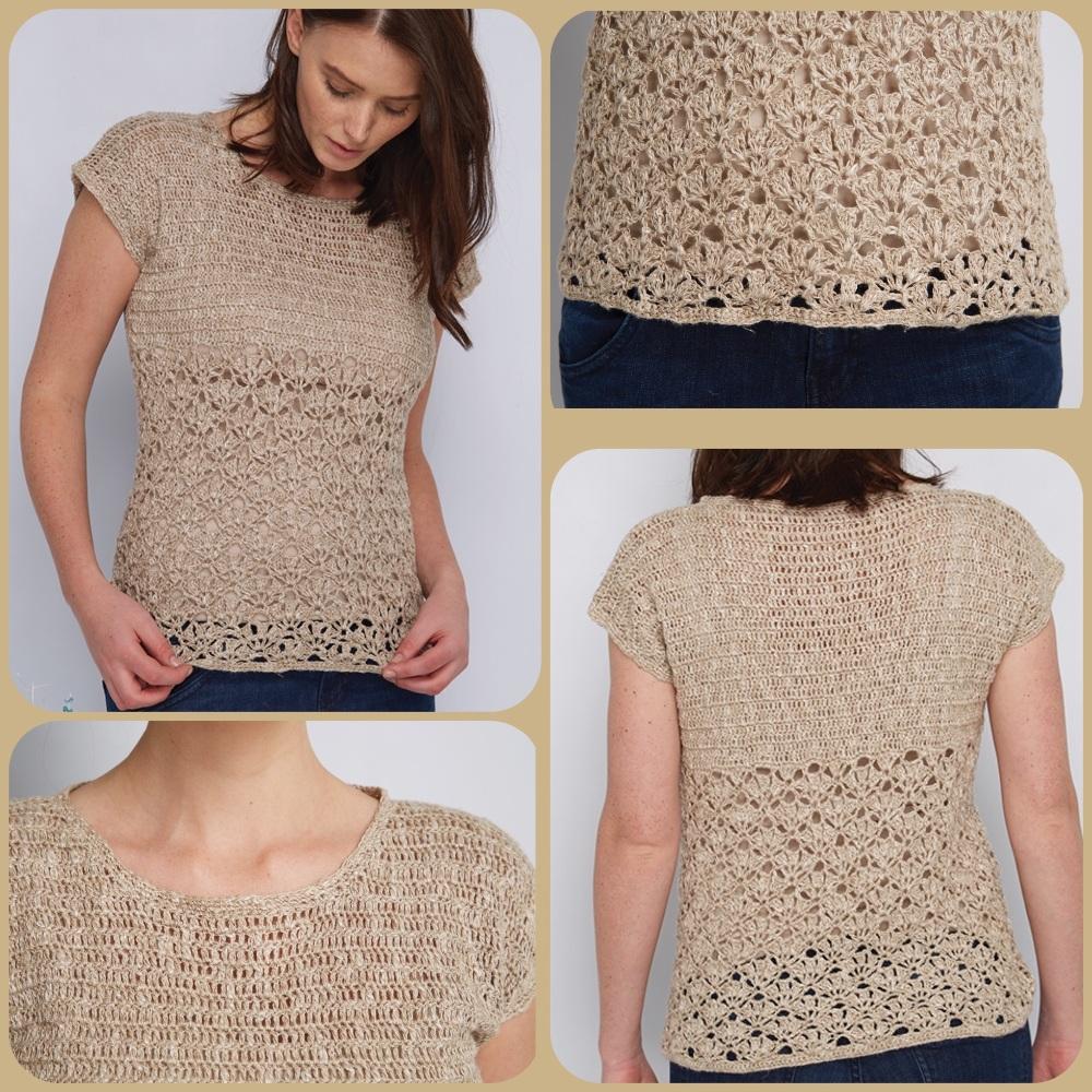 Dmc natura linen She sells sea shells top crochet pattern 4 pictures